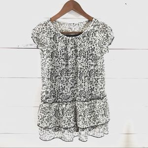 Black White Floral Butterfly Peace Sign Print Top